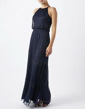 Monsoon Ladies Prom Dress Evening Party Cocktail Ball Size UK 12 Navy Blue Long