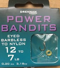 DRENNAN POWER BANDITS - 8 HAIR RIGS WITH BAIT BANDS  - EYED BARBLESS HOOKS