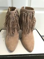NIne West - Tan Suede Ankle Boots with  Fringe Detail - Size 8.5
