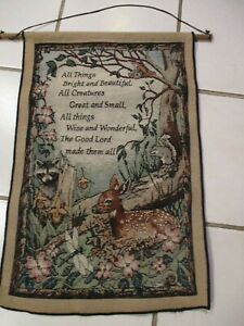 """Vintage """"All Things Bright and Beautiful"""" Tapestry Wall Hanging with Hanger"""