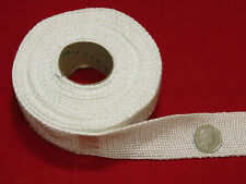 Exhaust Lagging - Heat Proof Flat Woven Tape - 40mm x 2mm - 5 mtr Roll - White