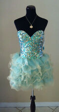 BRAND NEW JOVANI  30061 AQUA / GOLD PROM SHORT COCKTAIL EVENING  PARTY DRESS 6