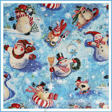 BonEful Fabric FQ Cotton Quilt Blue S Snowman Flake Red White Stripe Xmas Scenic