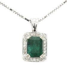 EMERALD CUT GREEN EMERALD & DIAMONDS PENDANT WITH GALLERY PE589
