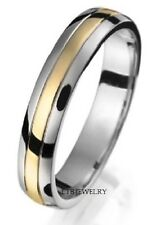 10K TWO TONE GOLD MENS WEDDING BANDS,SHINY WOMENS SOLID GOLD WEDDING RINGS  4MM