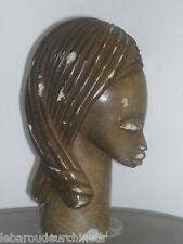 Deuxième jolie tete sculptée africaine dans de la pierre african ar african head