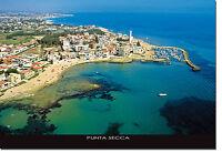 CARTOLINA SICILIA PUNTA SECCA FOTO AEREA SPIAGGIA MARE BEACH SICILY POSTCARD