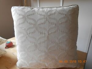 1 pair square Cream cushion covers with chenille pattern design