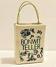 Bonwit Teller Christmas Ornament Shopping Bag White Ceramic Gold Thread Handles