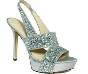 Nine West Fairgame Platform Slingback Heel Open Toe Silver Sparkle Glitter 7 M