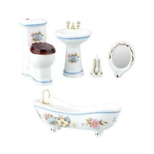 Dolls House White Porcelain Bathroom Suite Blue Trim Miniature Furniture Set