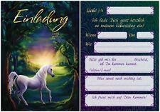 12 Einladungskarten Einladungen zum Kindergeburtstag Einhorn Pferd Märchen