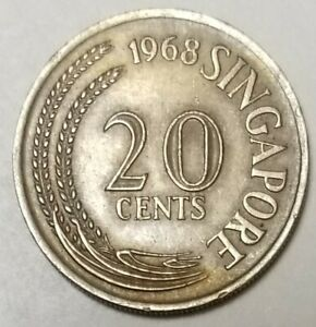 1968  SINGAPORE  20 CENT 'COPPER NICKEL ' COIN **SEE PHOTOS **
