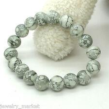 1PC Men Women Off-white Imitate Jade Agate Bead Bracelet 20cm
