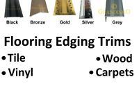 Flooring Edging Strip Trim - Metal Edge Bars For Vinyl , Tile , Laminate  Carpet