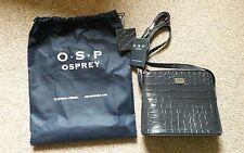 BNWT Osprey London Navy Basal X Body Polished Croc Bag