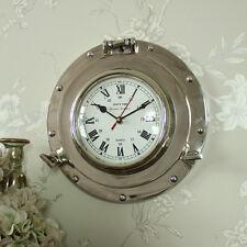 Montado en pared de Metal Plata Reloj náutico ojo de Buey Shabby Vintage Chic Boy's Room