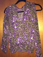 Karina Grimaldi Khaki Purple Animal Print Slit Sleeves Top Size Small