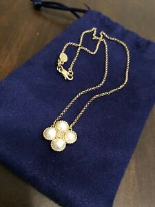 NEW Tory Burch Fine Jewelry Choker Flower Four Pearl Gold