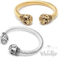 Rockabilly Totenkopf Armreif Edelstahl Herren Damen Gold Silber Skull Armbänder