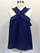 JCREW Petite Drapery Wrap Front Top Blouse Royal Blue Sz 12p H1632