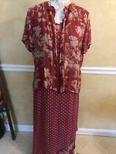 Vintage April Cornell For Cornell Trading Pink Floral 2 PC Dress Shirt Romantic