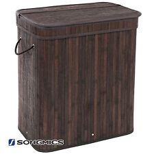 SONGMICS Bamboo Laundry Hamper Basket Clothes Hamper with Lid and Liner ULCB64B