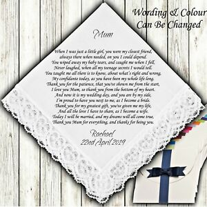 Gift Boxed Mother of the Bride Wedding Favour Personalised Handkerchief Hankie