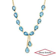 Estate 18.00ct Blue Topaz 18K Yellow Gold Drop Pendant Chain Necklace 9.1 Gr NR