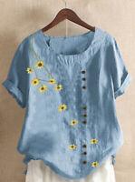 Printed Short Sleeve Ladies Summer Casual Loose Blouse Shirt Tops Womens Daisy