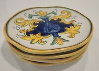 """Majolica Made in China Painted Square Italian Style Plates Set of Four 8 1/2"""""""