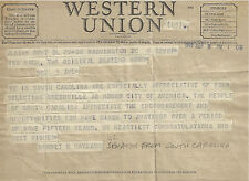 1949 WESTERN UNION TELEGRAM SENATOR BURNET MAYBANK SC TED MACK AMATEUR HOUR #2