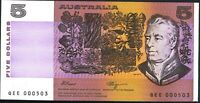 Australia Low Serial 1990 $5 QEE 000503 Fraser Higgins Paper Banknote issue r212