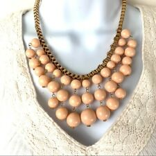 Vintage Pink Beaded Necklace with Bicycle Chain - Boho, Hipster