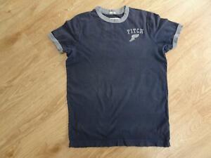 ABERCROMBIE & FITCH mens navy grey trim distressed detail t shirt top MEDIUM