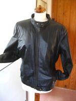 Ladies DEBENHAMS black real leather JACKET COAT size UK 18 biker racer