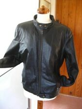 Ladies DEBENHAMS black real leather JACKET COAT size UK 18 biker racer