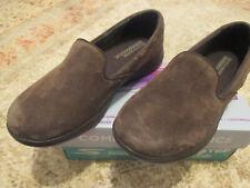 Skechers Women 7.5W WIDE Go Step Lite INDULGE 14718W brown genuine pigskin suede