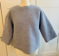COS BOUCLE STYLE BOXY TOP PALE BLUE UK SIZE 12