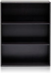 Three Tier Open Shelf Rectangular Wood Espresso Home Accessories Indoor Storage