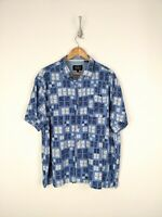 Nat Nast Button Up Shrit Men 2XL XXL Blue White Geometric Silk Blend Camp