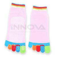 Yoga Fitness Grip Excercise Five Toe Socks Rubber Non Slip Socks Baby Pink