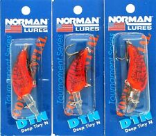 (3) Bill Norman Made In USA Crankbaits Deep Tiny N DTN-F135 Chili Bowl (BP)