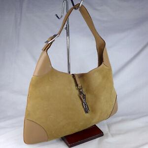 Authentic Vintage Gucci Jackie Brown Suede Leather Medium Hobo Shoulder Handbag