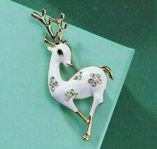 Classic White CHRISTMAS DEER Rhinestone Enamel Vintage Inspired Reindeer Brooch
