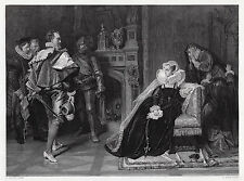 "Detailed 1800s Carlo PILOTY Engraving ""Death for Mary Queen of Scots"" SIGNED COA"