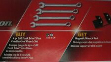 SOEX704WRAK 4 pc. SAE Snap-On Flank Drive Plus Wrench Set with Rack(SOEX704)