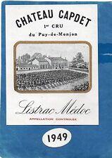 LISTRAC MEDOC ETIQUETTE + COLLERETTE CHATEAU CAPDET 1949 RARE §27/07§