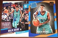 Malik Monk Charlotte Hornets NBA ROOKIE basketball card auto autograph LOT X2 RC