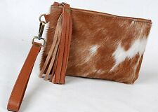"""Real Cowhide Leather Wristlet Clutch Wallet Double Side Hairon 8.5""""x5.5"""" RW-5870"""